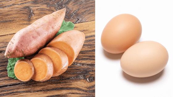 giảm cân với trứng luộc và khoai lang