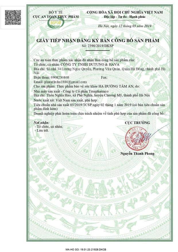 giấy chứng nhận của bộ ý tế cấp